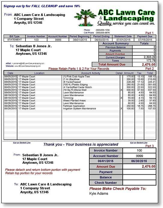 lawncare landscape billing invoicing software