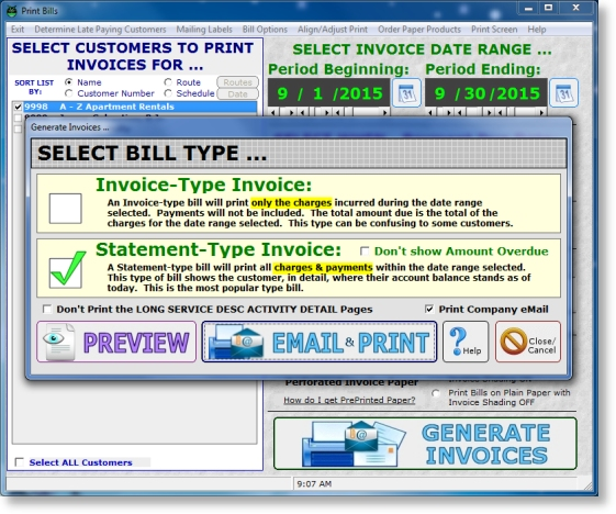 lawn billing softare invoices created for email print